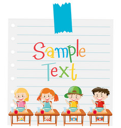 paper template with kids having cereal vector image vector image