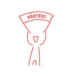 red thin line man holding protest banner vector image