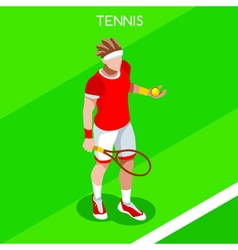 Tennis 2016 Summer Games Isometric 3D vector image vector image