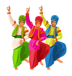 bhangra dancers in national cloth vector image vector image