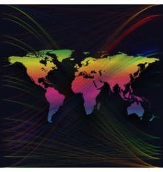 Colorful background with world map abstract waves vector image vector image