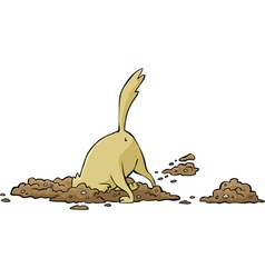 dog digging a hole vector image vector image