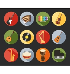 Flat Musical Icons vector image vector image