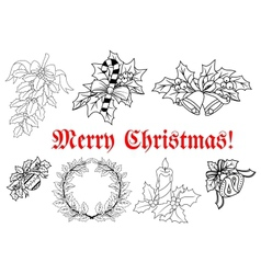 Outline of Christmas decorations set vector image vector image