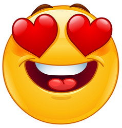 smiling emoticon face with heart eyes vector image vector image