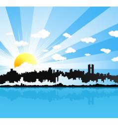 sunny urban panorama background vector image vector image
