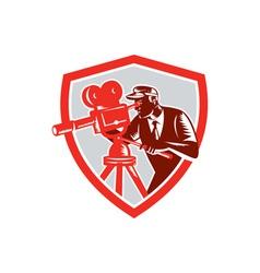 Cameraman vintage movie camera shield woodcut vector