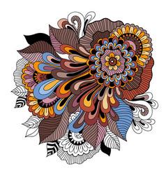doodle art floral composition tattoo flower vector image