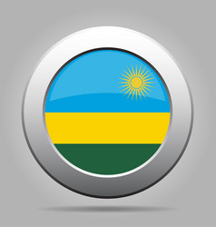 flag of rwanda shiny metal gray round button vector image