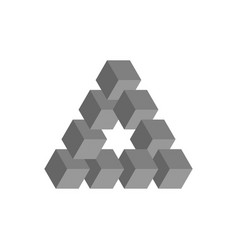 impossible triangle in grey 3d cubes arranged as vector image vector image