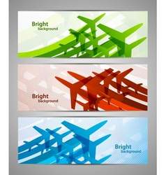 Set of banners with airplanes vector image vector image