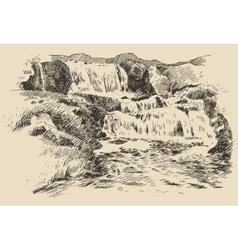 Waterfall landscape vintage engraving vector image