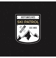 Winter ski patrol Label with ski equipment and vector image vector image