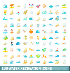 100 water recreation icons set cartoon style vector image