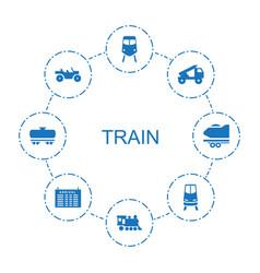 8 train icons vector
