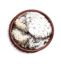 A cup sea salt top view powdered powder and vector