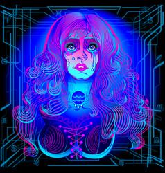 a series neon zodiac sign aquarius vector image