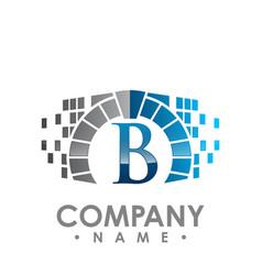 Abstract b letter data tech logo design b letter vector