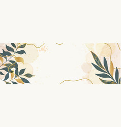 abstract banner background with golden leaves vector image