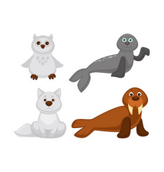 albino and north pole adorable cute animals set vector image