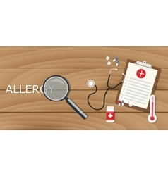allergy concept with magnifying glass and medical vector image