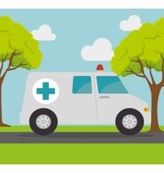 ambulance transport emergency landscape background vector image
