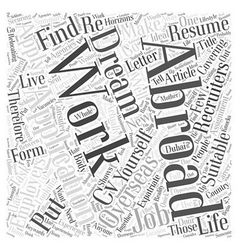 Applying for Work Abroad Word Cloud Concept vector