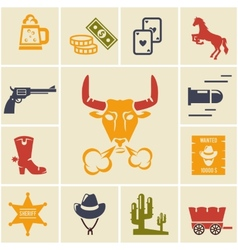Assortment of Wild West Icons vector image vector image