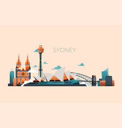 Australia travel landmark landscape with vector