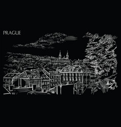 Black hand drawing prague 3 vector