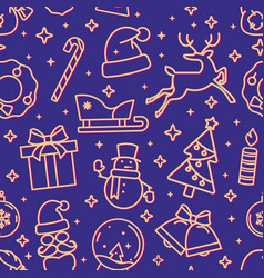 blue and gold christmas seamless pattern with new vector image