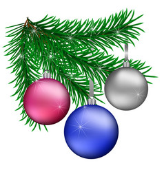 Branch of christmas trees with blue purple silver vector