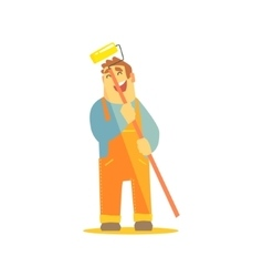 Builder With Painting Roll On Construction Site vector image