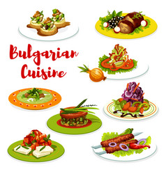 Bulgarian cuisine meat dishes with veggies cheese vector