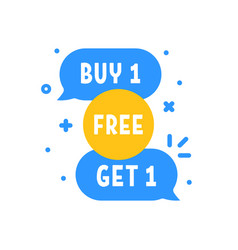 Buy 1 get one free promotion bubbles vector