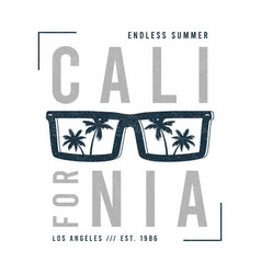 california t-shirt design with sunglasses and palm vector image