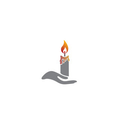 Candle and hand for logo design vector