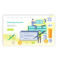 Checking accounts man signing check website web vector