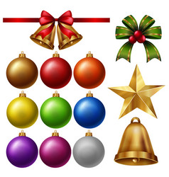 Chrismas ornaments with balls and bells vector