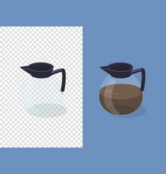 Coffee pot on transparent and blue background vector
