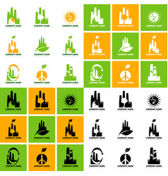 collection ecological logos on topic of vector image
