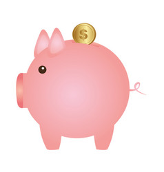 Color silhouette with money box in shape of pig vector