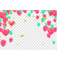 confetti colorful balloon and flag ribbons over vector image