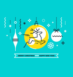 cool flat linear xmas design vector image