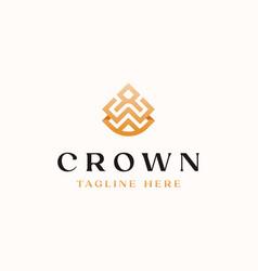 crown golden gradient color monogram logo vector image