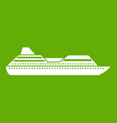 Cruise liner icon green vector