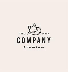 Cute fox hipster vintage logo icon vector