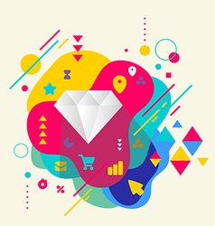 Diamond on abstract colorful spotted background vector image