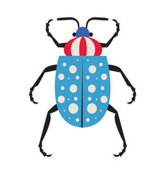 Dotted exotic tropical bug icon in flat vector
