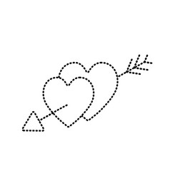 Dotted shape hearts with arrow to symbolic of vector